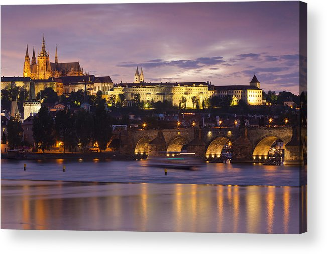 Architecture Acrylic Print featuring the photograph Prague Castle And Charles Bridge by Andre Goncalves