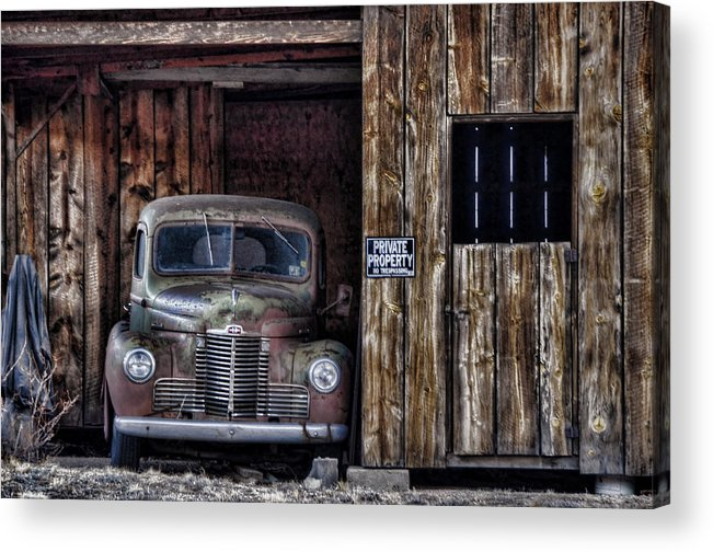 Vintage Car Acrylic Print featuring the photograph Private Parking by Ken Smith