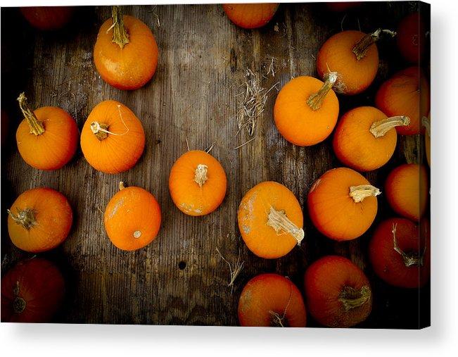 Pumpkin Acrylic Print featuring the photograph Pumpkin Tops by Marisela Mungia