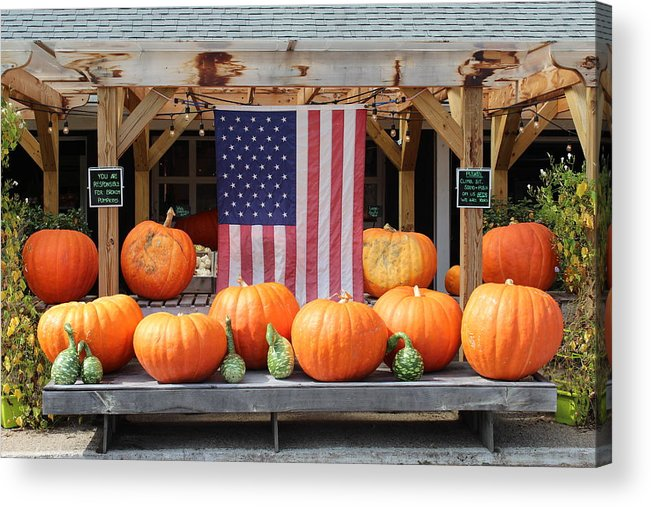 Farms On Long Island Acrylic Print featuring the photograph Pumpkins In Southampton by David Zuhusky