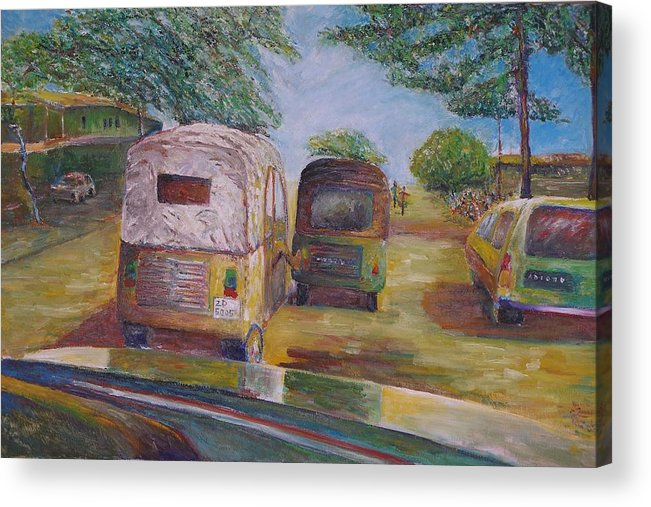 Landscape Acrylic Print featuring the painting Pushing Forward - Benin Africa by Wendy Chua