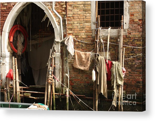 Venice Acrylic Print featuring the photograph Raggedy Door On Canal In Venice by Michael Henderson
