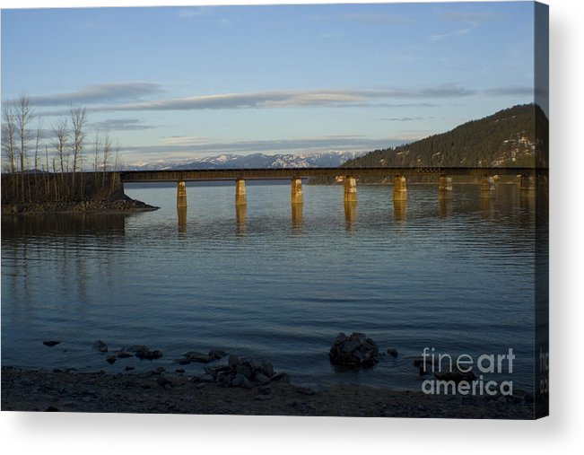 Bridge Acrylic Print featuring the photograph Railroad Bridge Over The Pend Oreille by Idaho Scenic Images Linda Lantzy