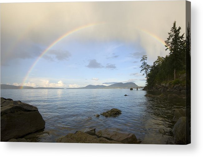 Gulf Islands Acrylic Print featuring the photograph Rainbow Over Saturna Island by Kevin Oke