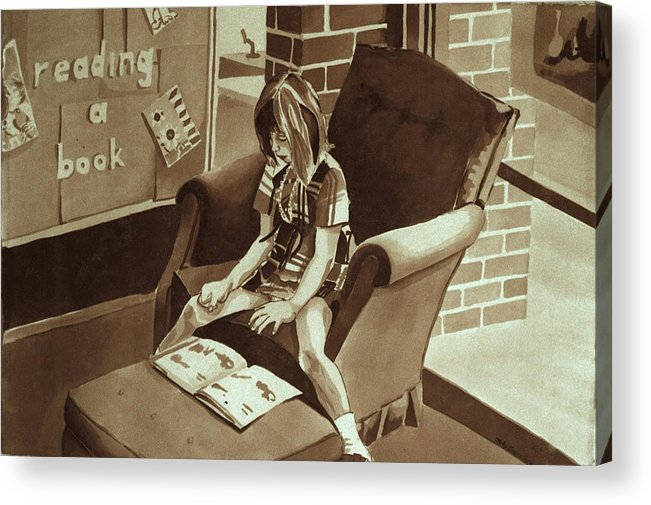 Girl Reading Book Acrylic Print featuring the painting Reading Corner by Judy Swerlick