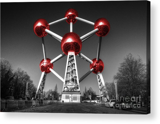 Atomium Acrylic Print featuring the photograph Red Atomium by Rob Hawkins