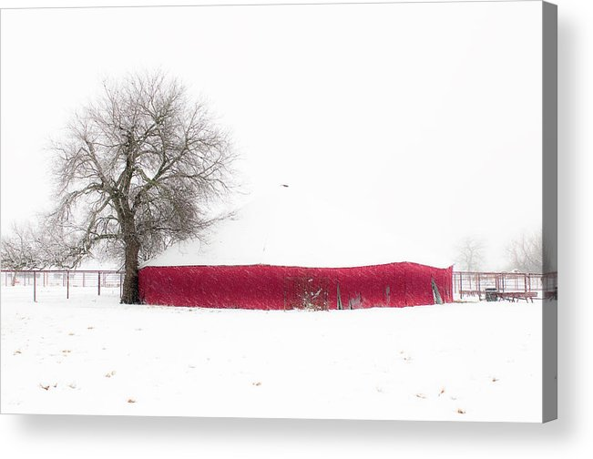 Nature Acrylic Print featuring the photograph Red Barn In Winter by Tamyra Ayles