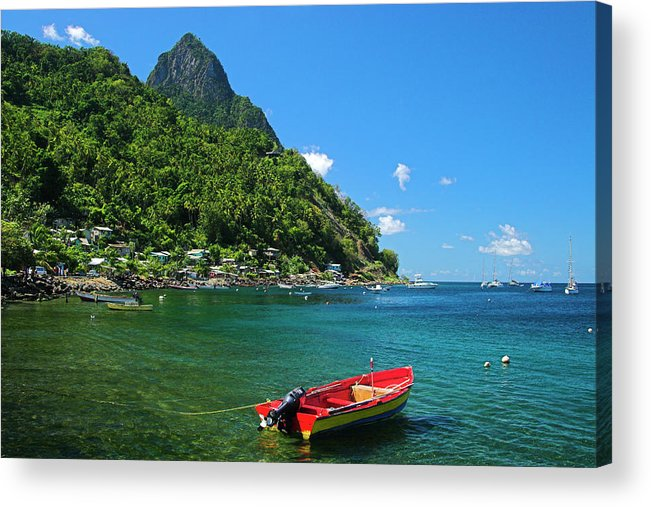 Red Acrylic Print featuring the photograph Red Boat- St Lucia by Chester Williams