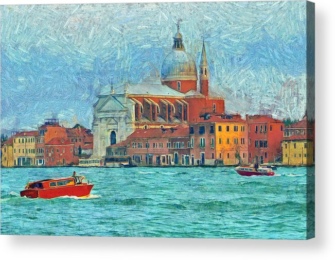 Venice Acrylic Print featuring the photograph Red Boat Venice by Judy Coggin