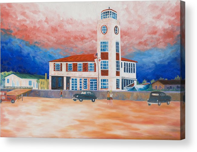 Historic Buildings Acrylic Print featuring the painting Red Cross Lifeguard Station by Blaine Filthaut