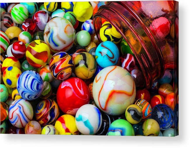 Glass Acrylic Print featuring the photograph Red Jar Spilling Marbles by Garry Gay