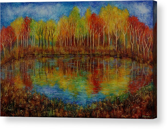 Landscape Acrylic Print featuring the painting Red Lake. by Evgenia Davidov