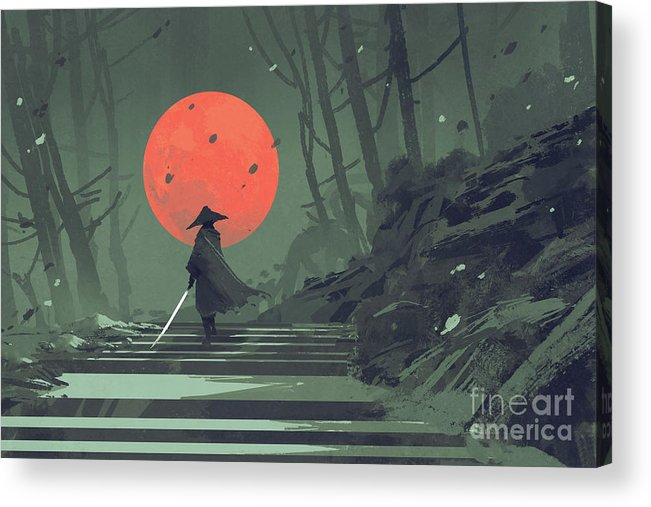 Acrylic Acrylic Print featuring the painting Red Moon Night by Tithi Luadthong