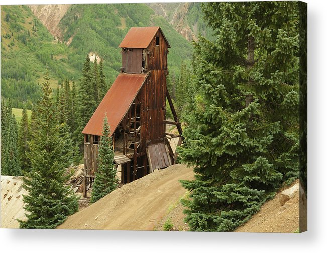 Old Mine Acrylic Print featuring the photograph Red Mountain Mine. by Jerry Mann