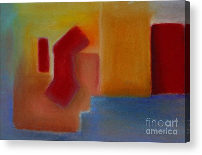 Abstract City Meditterenean Red Blue Leilaatkinson Original Pastel Acrylic Print featuring the painting Red On Blue by Leila Atkinson