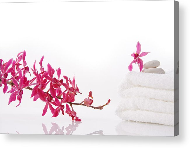 Spa-treatment Acrylic Print featuring the photograph Red Orchid With Towel by Atiketta Sangasaeng