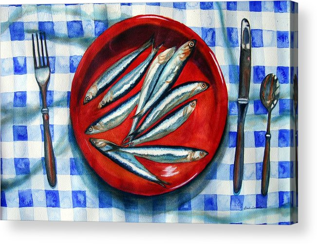 Still Life Acrylic Print featuring the painting Red Plate Special by Gail Zavala