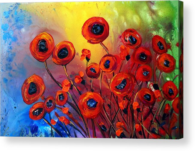 Flowers Acrylic Print featuring the painting Red Poppies In Rain by Luiza Vizoli