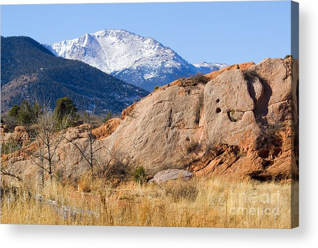 Bikers Acrylic Print featuring the photograph Red Rock And Pikes Peak by Steve Krull