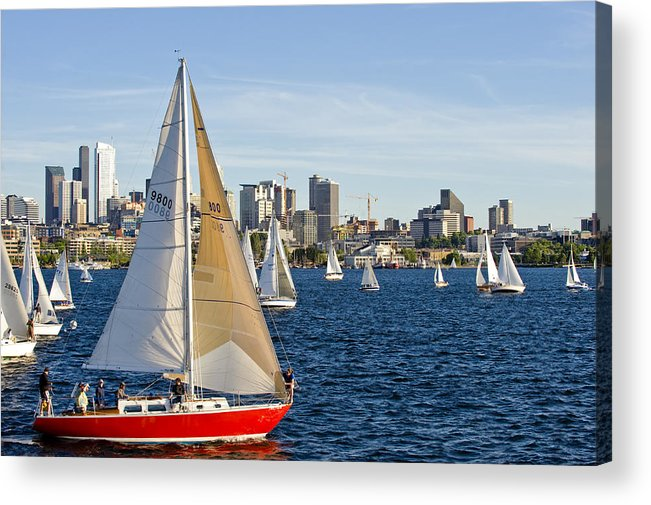 Seattle Acrylic Print featuring the photograph Red Sail Boat by Tom Dowd