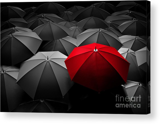 Red Umbrella Stand Out From The Crowd Of Many Black And White
