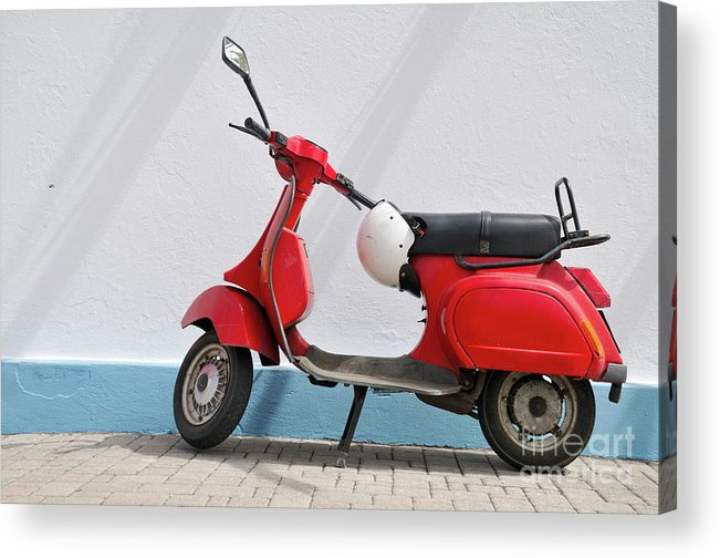 Simplicity Acrylic Print featuring the photograph Red Vespa Scooter By Wall by Sami Sarkis