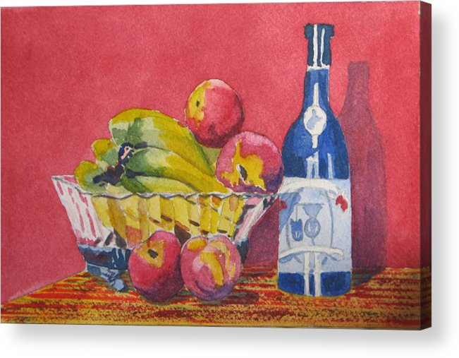 Fruit Acrylic Print featuring the painting Red Wall Blue Wine by Libby Cagle