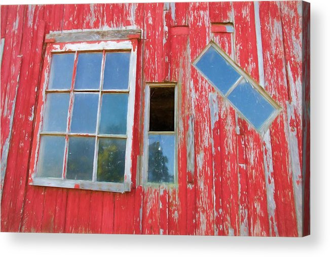 Alicegipsonphotographs Acrylic Print featuring the photograph Red Wood And Windows by Alice Gipson
