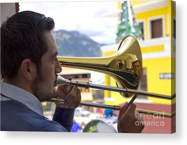 Trombone Acrylic Print featuring the photograph Reflecting On His Music by Al Bourassa