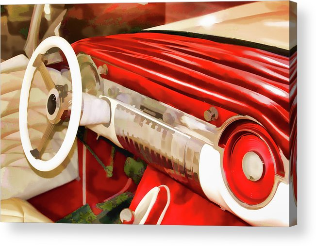 Dashboard Acrylic Print featuring the digital art Retro Dashboard by Karol Blumenthal
