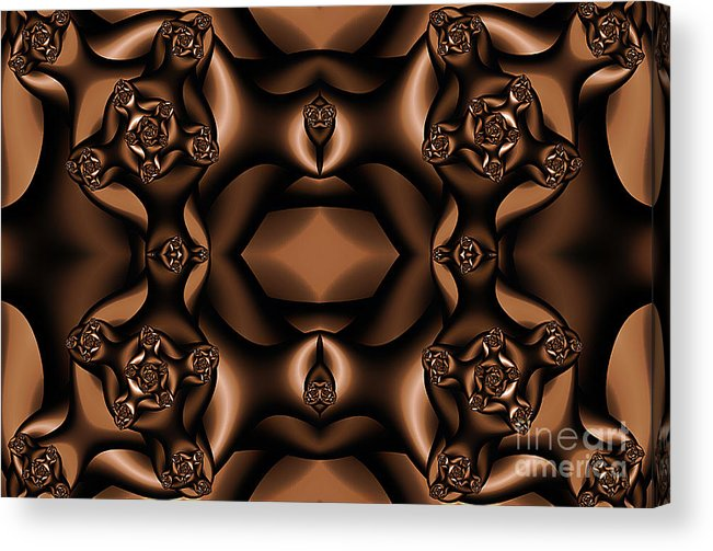 Clay Acrylic Print featuring the digital art Rich Coffee Fractal Roses by Clayton Bruster