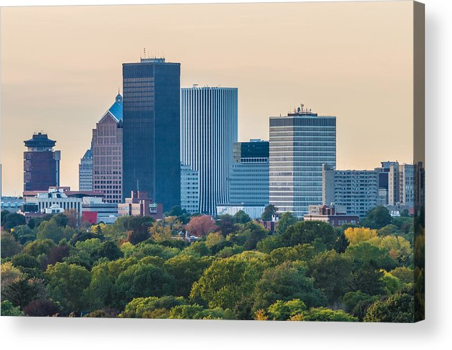 New York Acrylic Print featuring the photograph Rochester Ny Skyline At Dusk by Ray Sheley