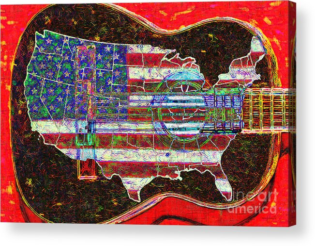 Music Acrylic Print featuring the photograph Rock And Roll America 20130123 Red by Wingsdomain Art and Photography