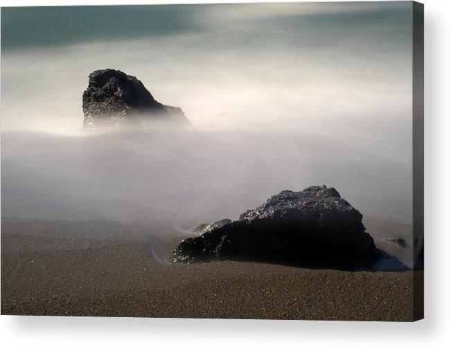 Rocks Acrylic Print featuring the photograph Rocks On Black Sand Beach by Catherine Lau