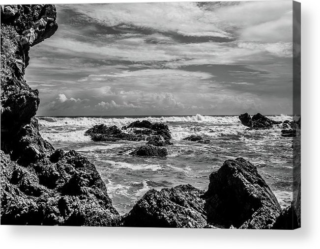 Black White Acrylic Print featuring the photograph Rocky Waters In Bw by Tina Ernspiker