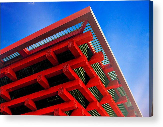 China Pavilion Acrylic Print featuring the photograph Roof Corner - Expo China Pavilion Shanghai by Christine Till