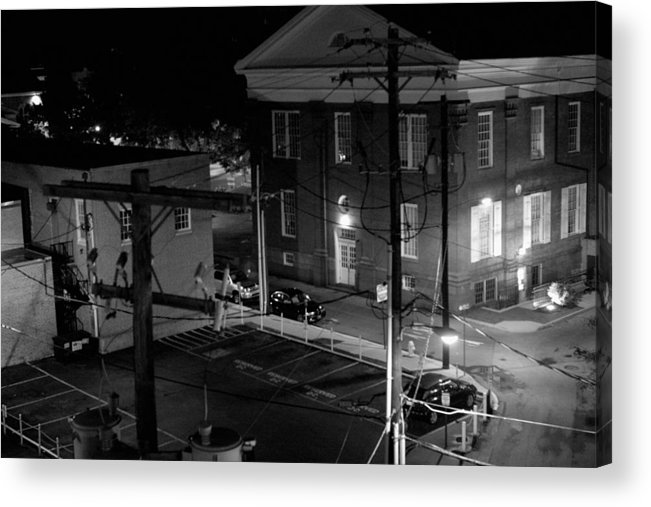 Black White Acrylic Print featuring the photograph Rooftop Court by Jean Macaluso