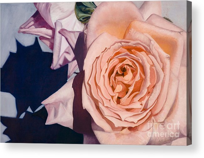 Roses Acrylic Print featuring the painting Rose Splendour by Kerryn Madsen-Pietsch