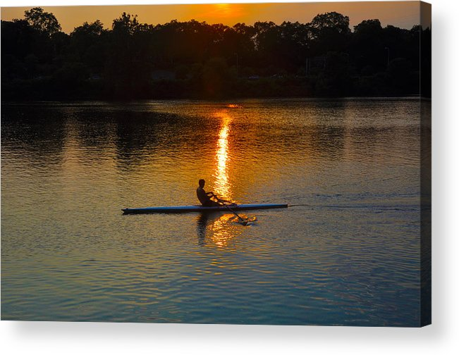 Philadelphia Acrylic Print featuring the photograph Rowing At Sunset 2 by Bill Cannon