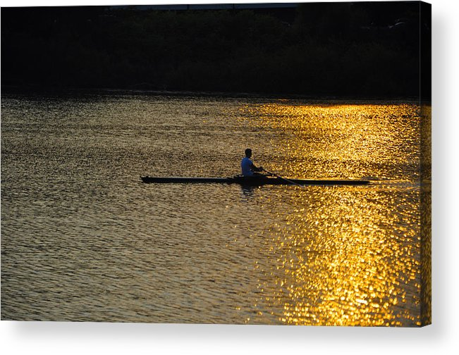 Philadelphia Acrylic Print featuring the photograph Rowing At Sunset by Bill Cannon