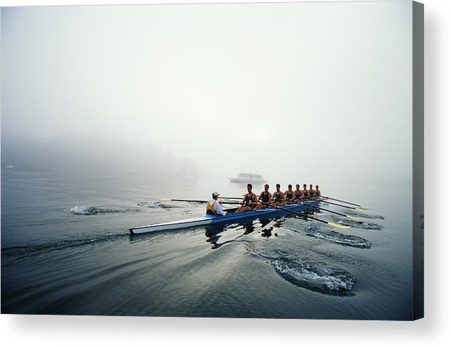 Adult Acrylic Print featuring the photograph Rowing Team On Lake In Early Morning Fog by Nick Wilson