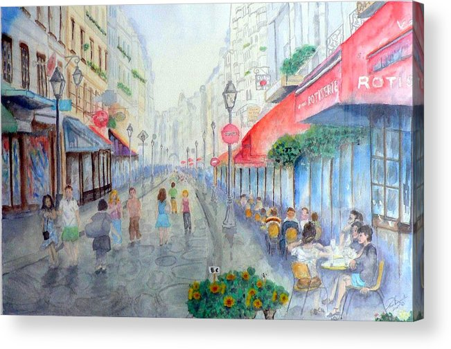 Late Afternoon Streetscape Acrylic Print featuring the painting Rue Montorgueil Paris Right Bank by Dan Bozich