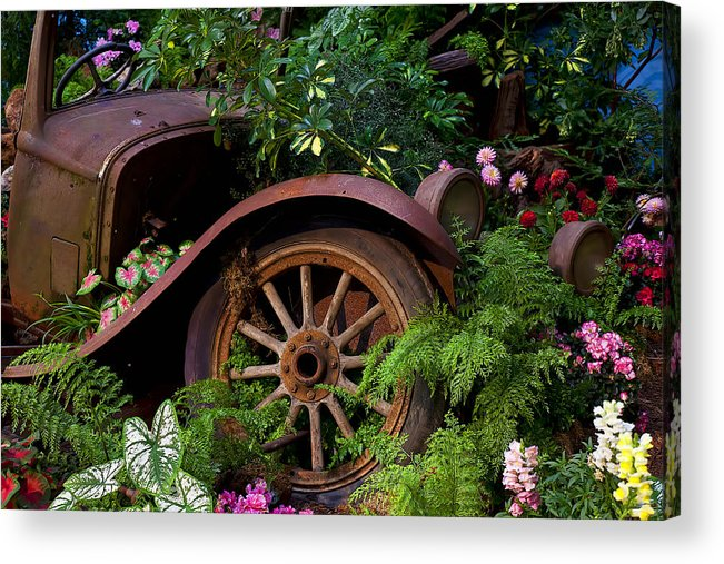 Rusty Truck Acrylic Print featuring the photograph Rusty Truck In The Garden by Garry Gay