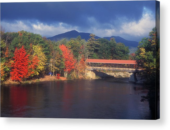 New Hampshire Acrylic Print featuring the photograph Saco River Covered Bridge Storm by John Burk