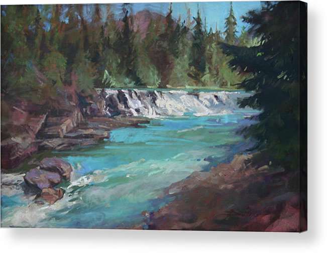 Glacier National Park Acrylic Print featuring the painting Sacred Dancing Cascade by Betty Jean Billups