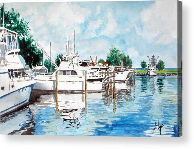 Boats Harbor Coastal Nautical Acrylic Print featuring the painting Safe Harbor by Jim Phillips