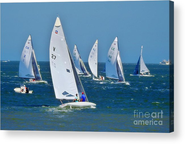 E-scows Acrylic Print featuring the photograph Sailboat Championship Racing 2 by Scott Cameron