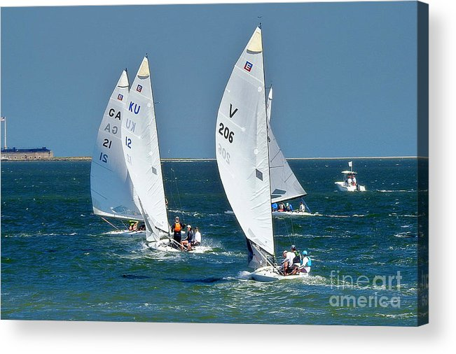 E-scows Acrylic Print featuring the photograph Sailboat Championship Racing 5 by Scott Cameron
