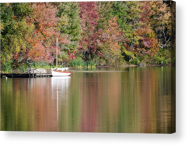 Sailboat Acrylic Print featuring the photograph Sailboat In A Lake by Leandro Da Costa