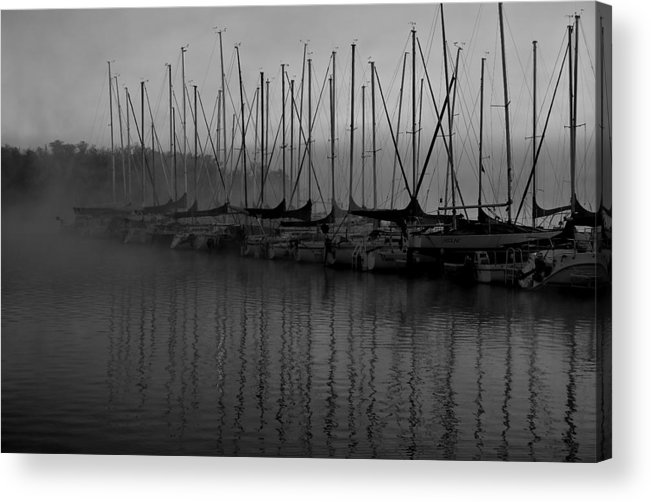 Sailboat Harbor Fog Black And White Acrylic Print featuring the photograph Sailboats In Harbor 2 by Kevin Mitts